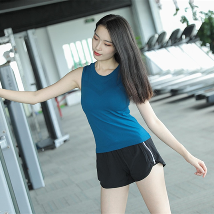 Camiseta sin mangas de Yoga para mujer, sin mangas, azul y negro, para ejercicio, para mujer, camiseta de Yoga, Camiseta deportiva para mujer