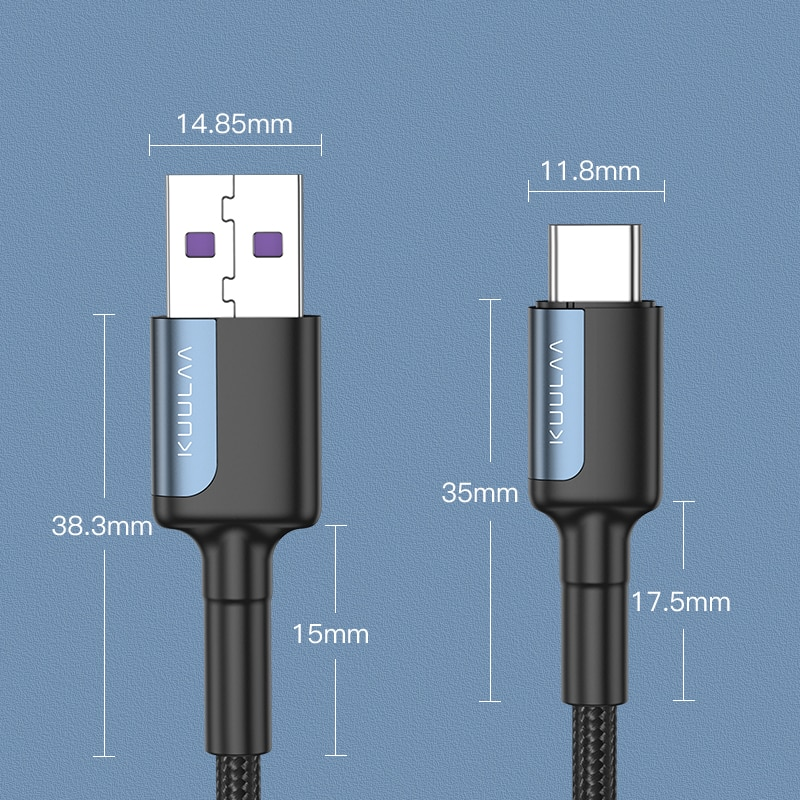 Купить с кэшбэком KUULAA USB Type C Cable For Samsung S10 S9 3A Fast USB Charging Type-C Charger Data Cable for Xiaomi Mi 10t Pro USB-C Cabo Wire