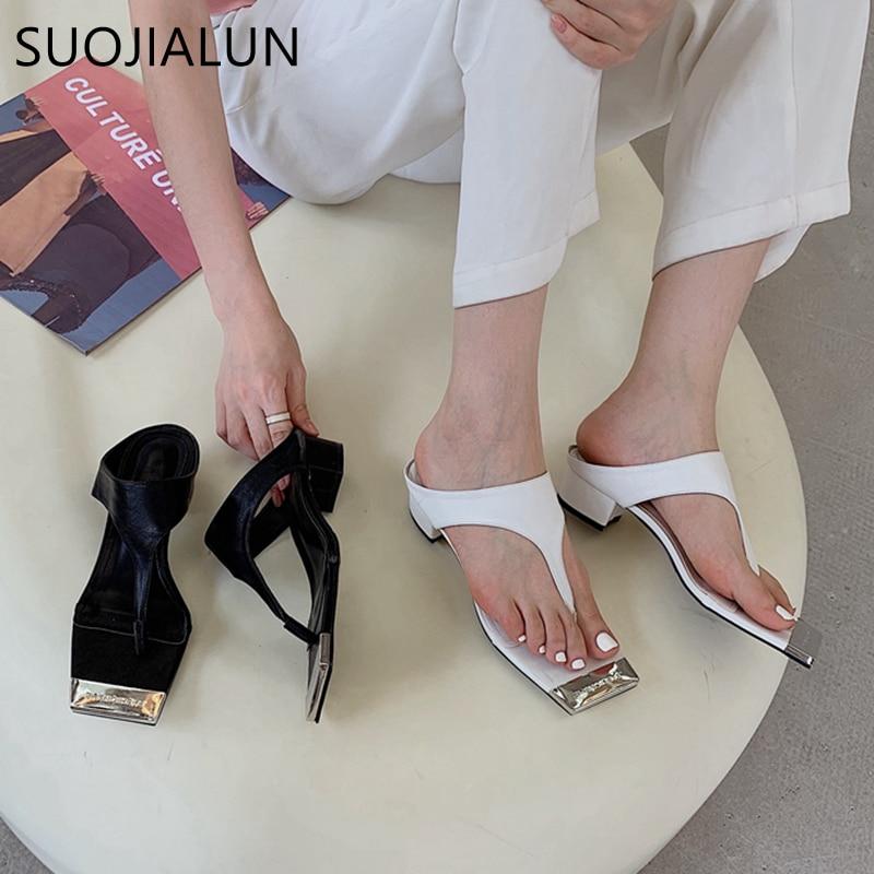 SUOJIALUN 2021 الصيف العلامة التجارية الجديدة شبشب نسائي مربع منخفض الكعب السيدات صندل أحذية عالية الجودة الشرائح شباشب غير رسمية في الهواء الطلق