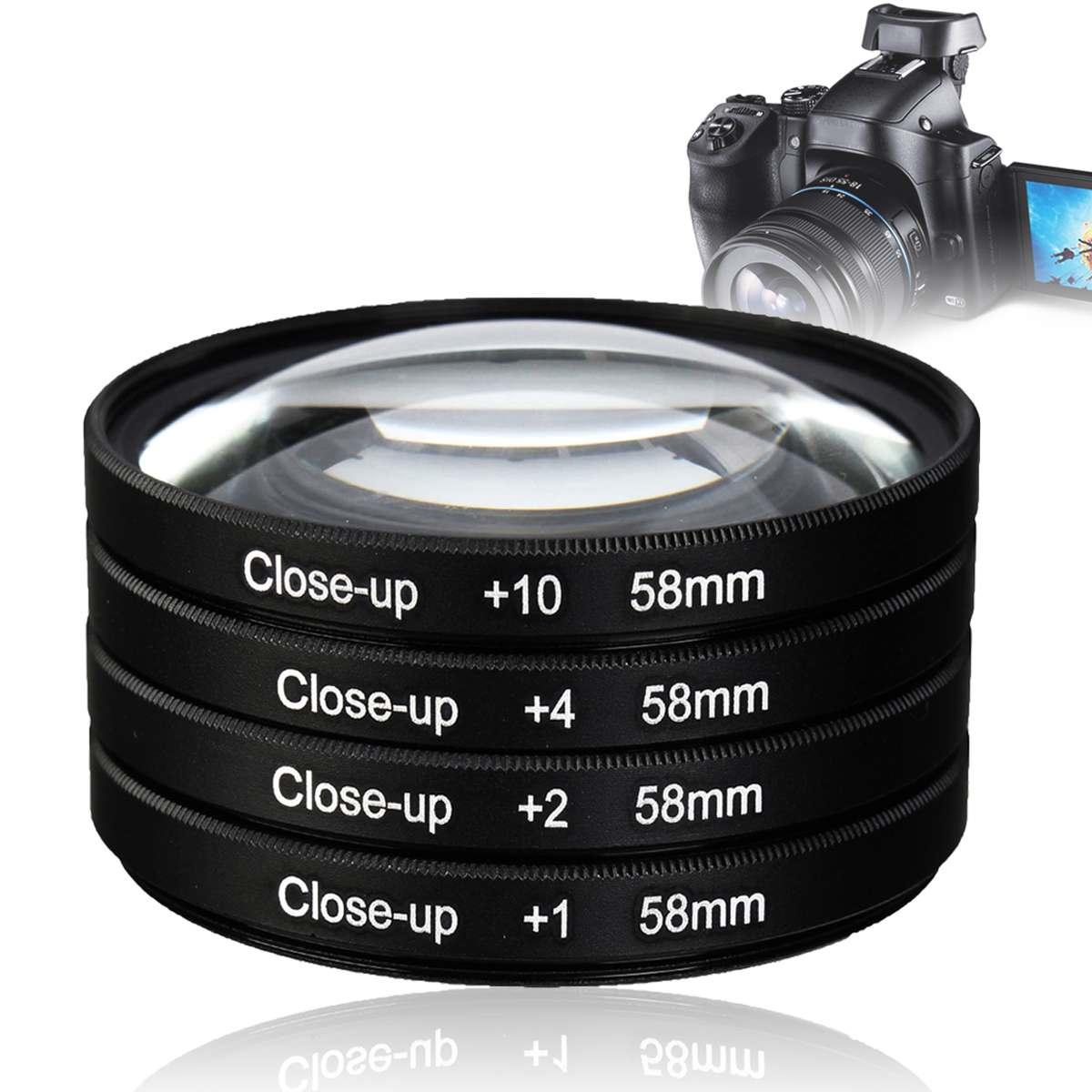 NEW 58mm Macro Close Up Lens filter +1+2+4+10 Filter Kit for canon for nikon for sony for pentax for DSLR Digital Camera