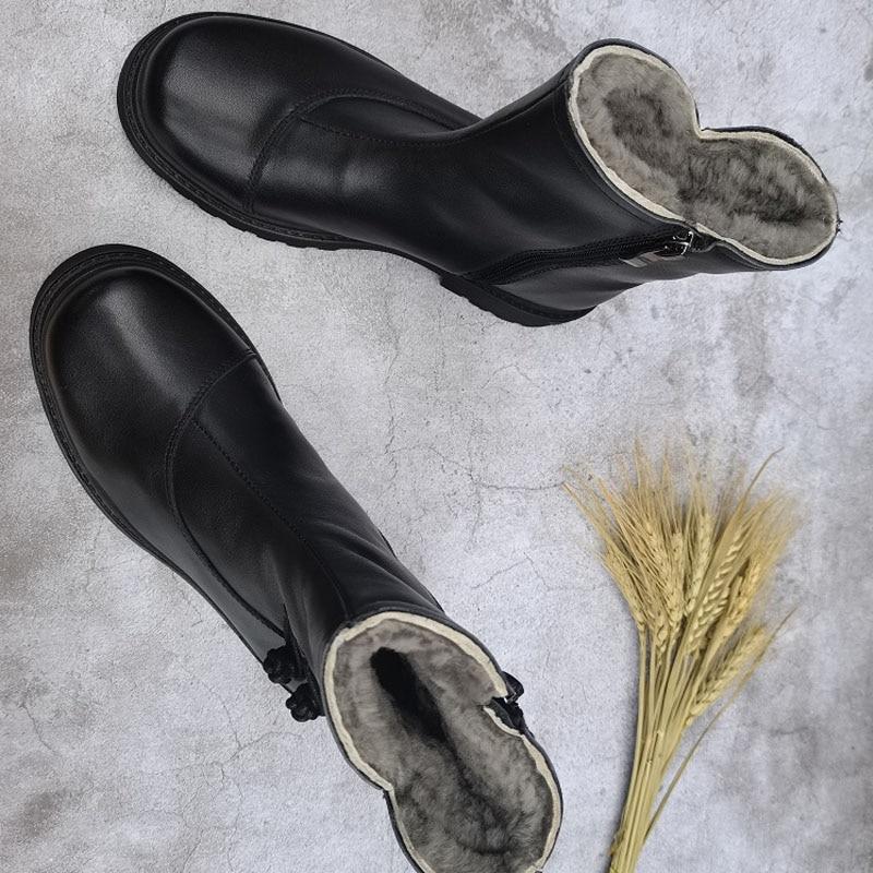 Femininas de lã Botas de Neve Botas de Tornozelo de Inverno Sapatos de Plataforma Botas de Tornozelo Botas Natural Couro Genuíno Quente Grossa Plana 100%