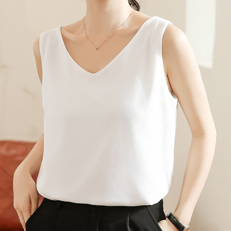 Women Tank Top Woman Chiffon Halter Top Plus Size Summer Sexy V Neck Sleeveless Tops Vest Female 2021 Korean OL Shirt Tops Women 2021 summer top women sleeveless lace tank top sexy women s t shirt vest tank tops female vest tops white black underwear women