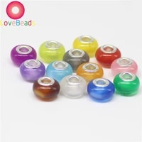 10 pcs big hole clear color murano spacer bead charms fit original pandora charm bracelets women wedding family diy jewelry gift