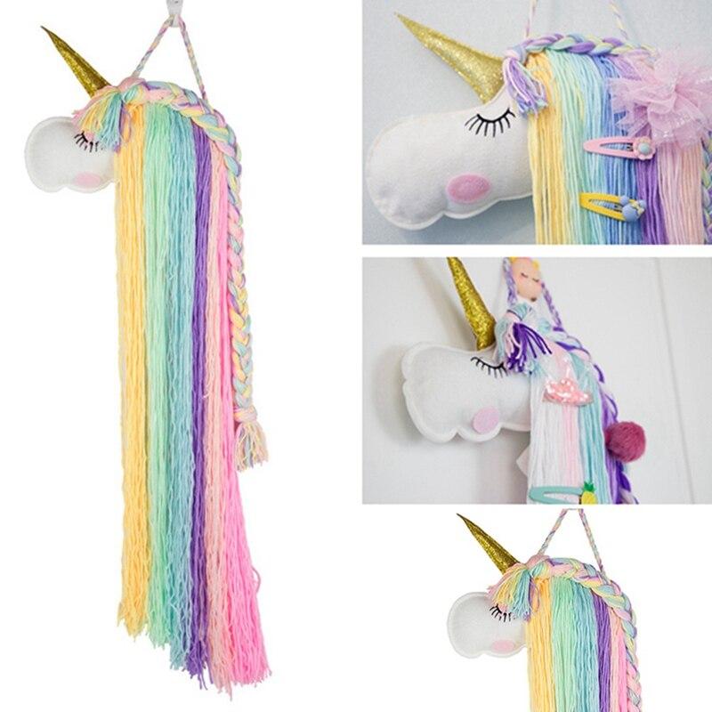 Hair Accessories Unicorn Hair Bows Storage Belt for Girls Hair Clips Barrette Hanger Organizer Hairband Scrunchy Holder