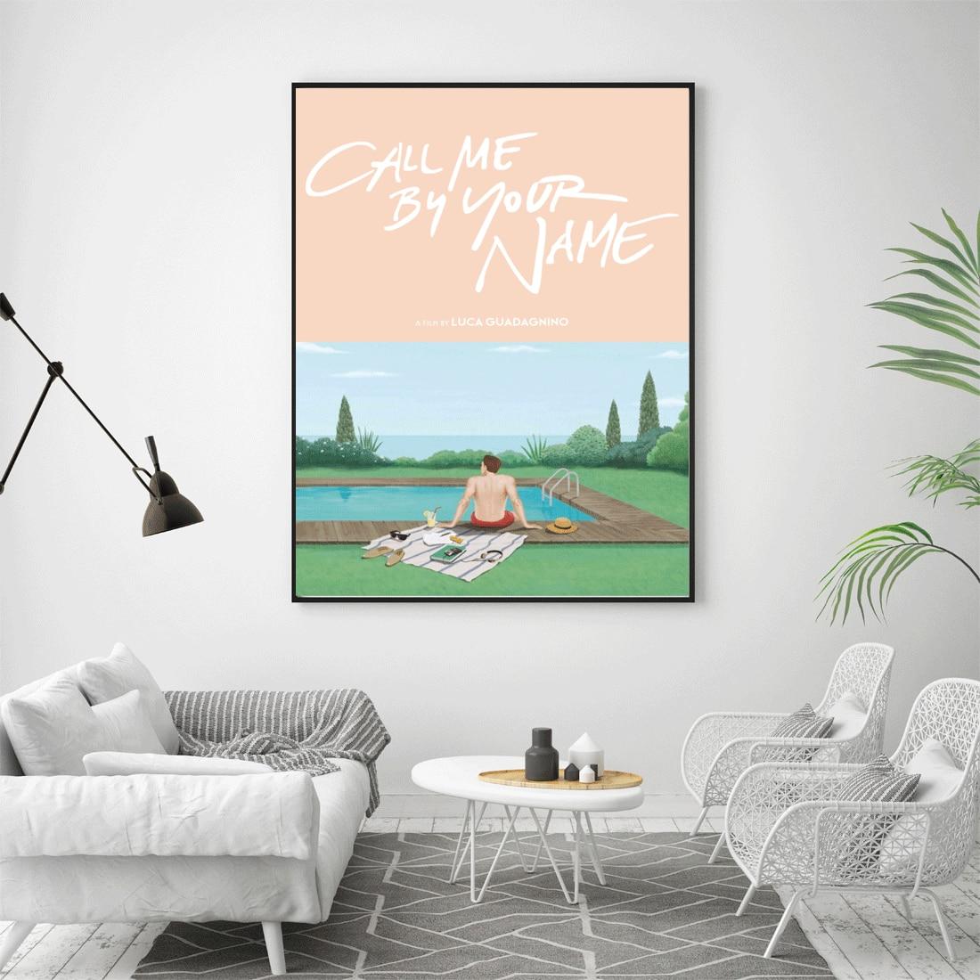 M067 me llamas por tu nombre cartel de película caliente arte lienzo decoración impresión imágenes 24x36 27x40 inchcustom pared pintura de seda