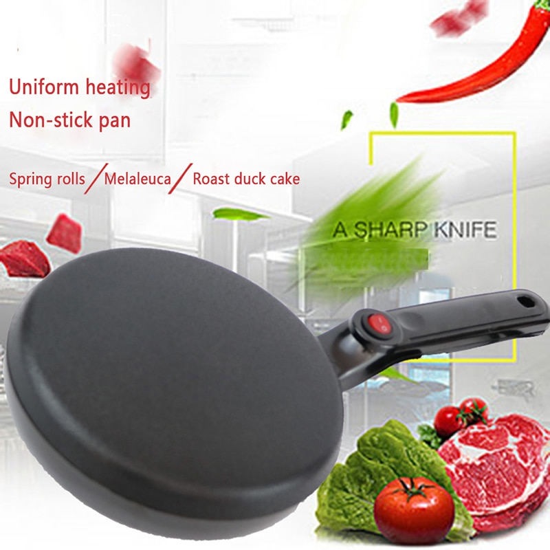 Utensilio antiadherente para hacer Pizza de crepé eléctrico, máquina portátil para hornear sartenes