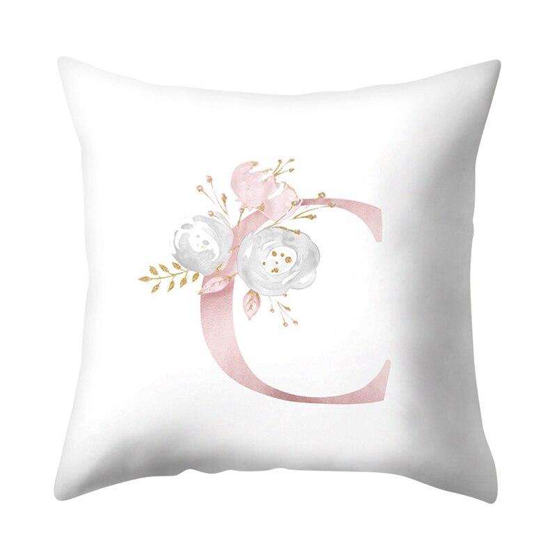 Funda de almohada de 45x45cm, funda de cojín con 26 del alfabeto inglés, funda de almohada de poliéster con estampado de flor de habitación para niños, para la Oficina y el hogar
