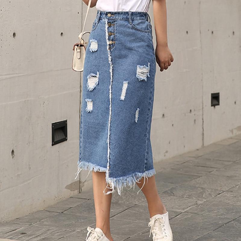 Women Skirt Korean Front Breasted Skirt Female Holes Fashion New Fat Mm Jeans Skirt Thin Skinny Large Size L-6xl Female Denim