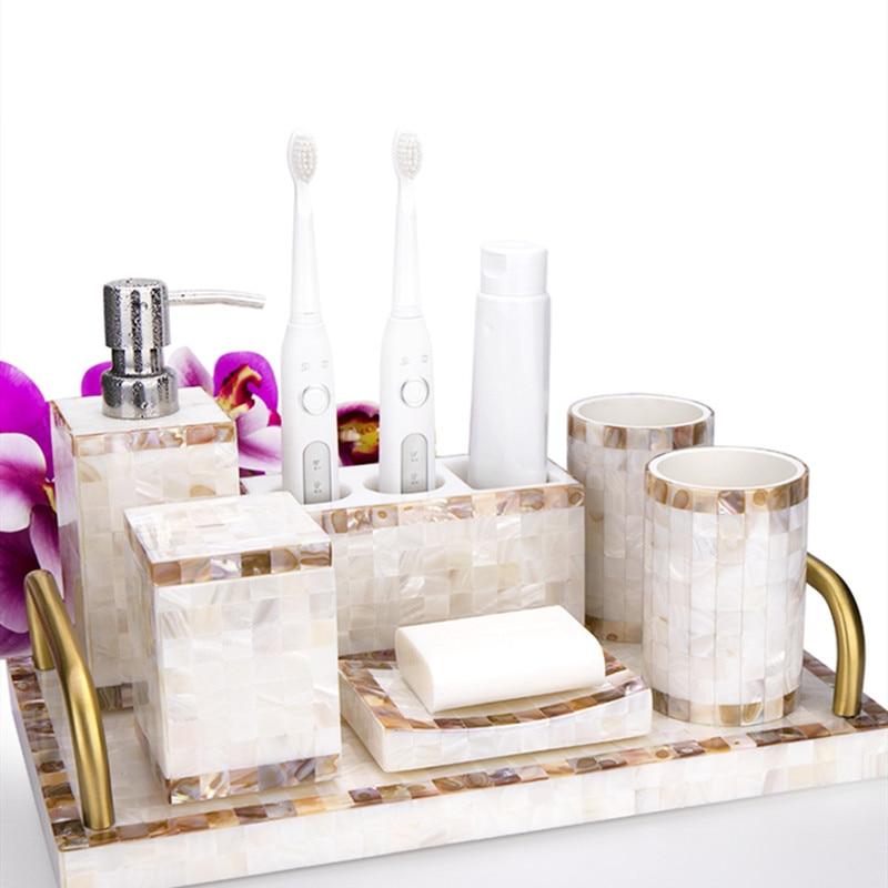 WSHYUFEI European wash set resin shell bathroom five-piece Upscale bathroom kit brushing toothbrush holder lotion bottle