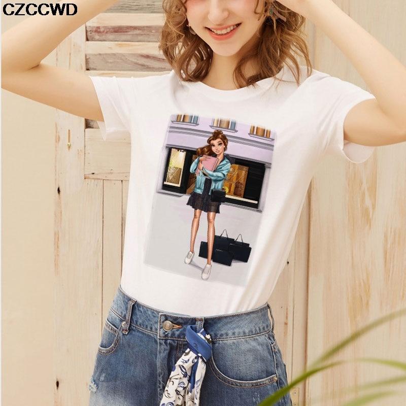 CZCCWD Poleras De Mujer De Moda 2019 blanco T camisa Harajuku Moda princesa camiseta ocio Streetwear tendencia Mujer camiseta Tumblr
