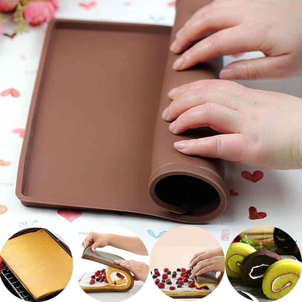 1pcs antiadherente para hornear repostería herramientas para hornear de silicona alfombra estera de molde de silicona de rollo suizo Mat pastel Pad para hornear herramienta accesorios de cocina