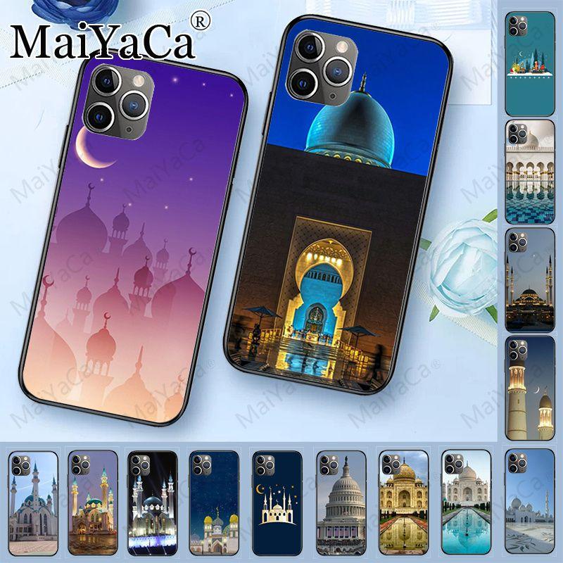 Preto silicone macio caso de telefone para iphone 11pro 5S 6s 7 8plus x xs xr xsmax coque celulares árabe mesquita muçulmana edifício