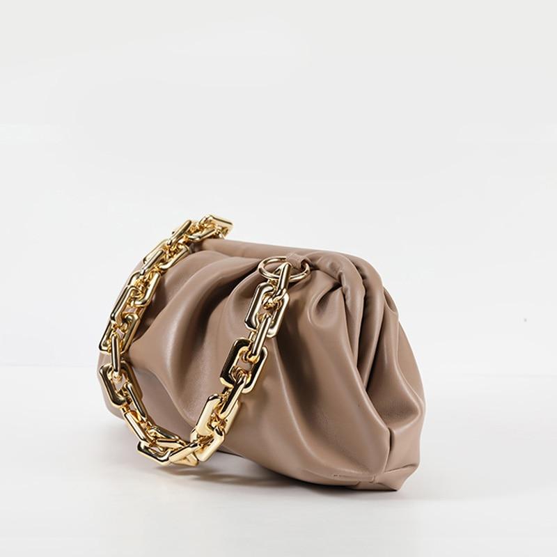 Cloud Shoulder Bag for Women Fashion PU Leather Butterfly Bag Chain Hobos Dumpling Handbag Luxury Designer Day Clutches Lady