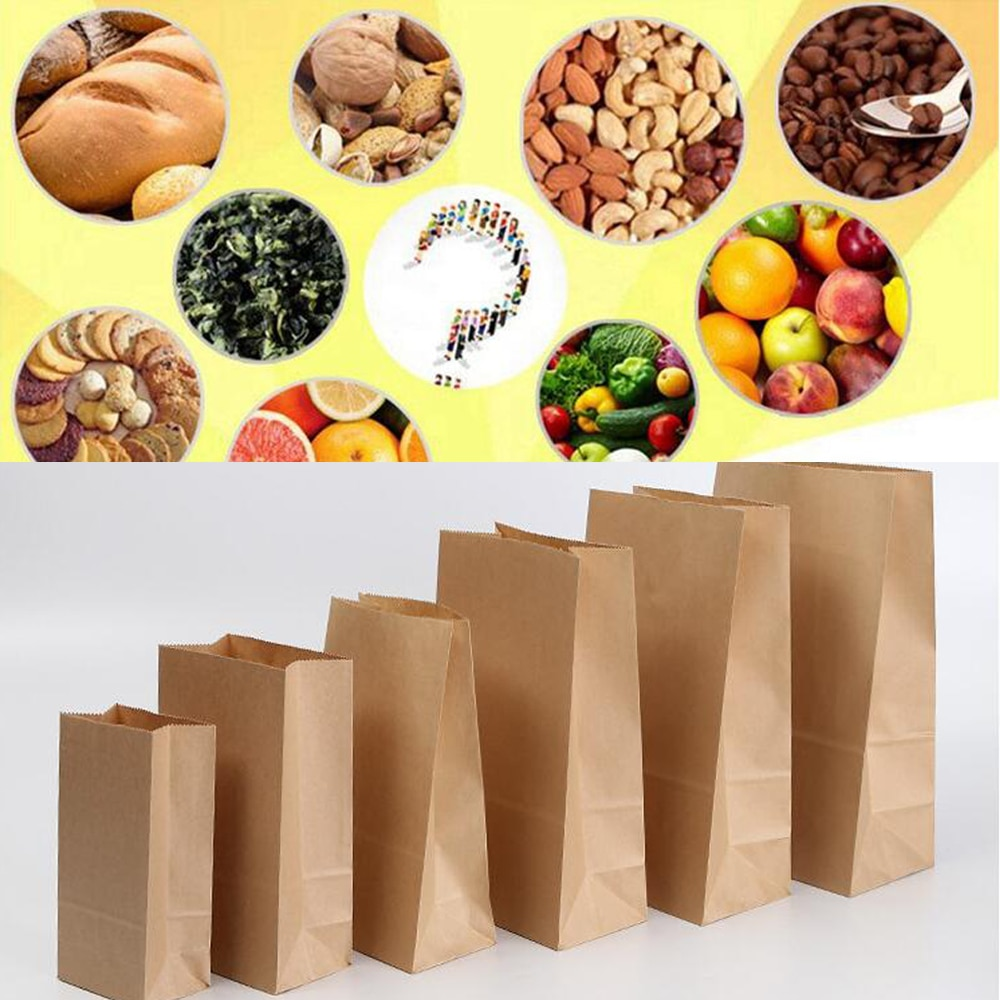10pcs Kraft Paper Bags Food Tea Small Gift Bags Small Bread Paper Bag Party Wedding Supply Wrapping Gift Takeout Packaging Bags