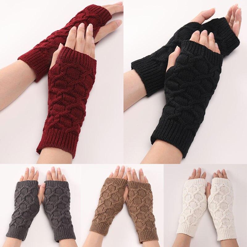 Вязаные чехлы на руку, теплые шерстяные чехлы на руку, женские Акриловые эластичные рукавицы на полпальца, вязаные крючком искусственные ру...