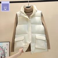down cotton vest coat women winter 2021 new style european fashion short cotton vest jacket trend solid color cotton vest