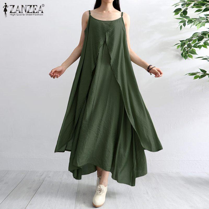 2020 verano sólido Vestido bohemio ZANZEA mujeres sin mangas Irregular Sundress moda Spaghetti Strap Beach Party Sarafans Vestido