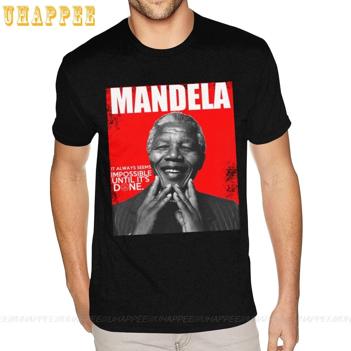 Oversized Nelson Mandela Impossible Until Its Done camisetas para hombre XXXL manga corta de algodón cuello redondo Camiseta