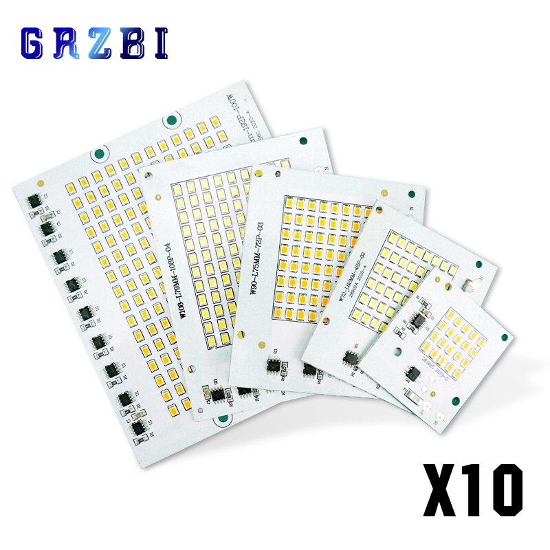 10 шт./лот светодиодный чип 10 Вт 20 Вт 30 Вт 50 Вт 100 Вт прожекторы 220 В SMD2835 светодиодные прожекторы чипы для наружного освещения прожектора