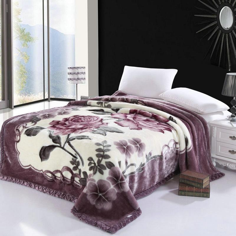 غطاء سرير من الصوف ، سميك ودافئ للغاية ، مطبوع عليه أزهار أزهار ، فرو صناعي ، غطاء سرير فاخر