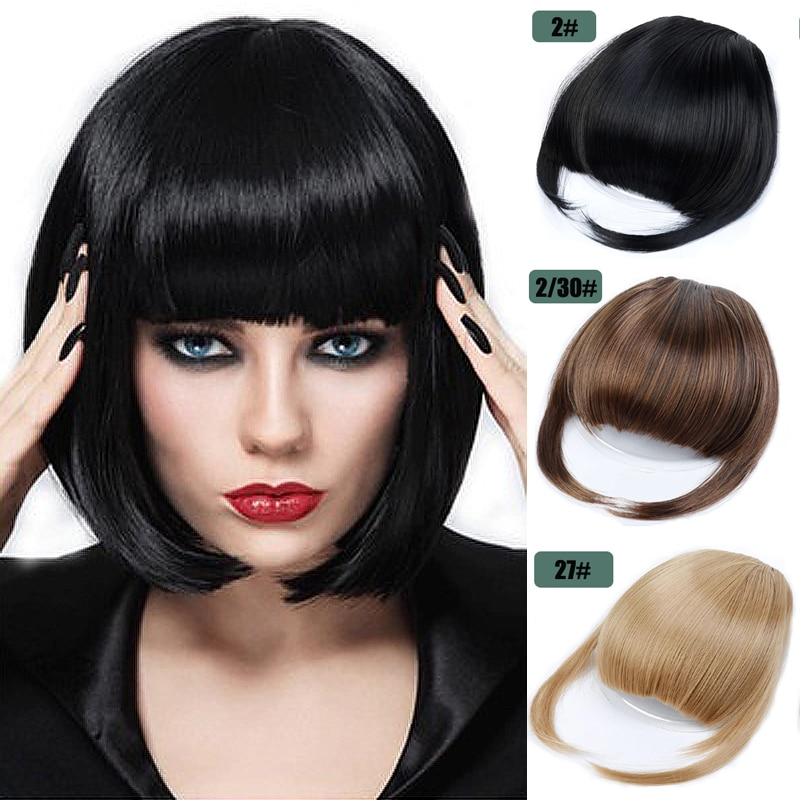 AliExpress - Short Straight Front Hair Neat Bangs Clip in Hair Bangs Extension Hairpiece Synthetic Natural Fake Bang Hair Piece