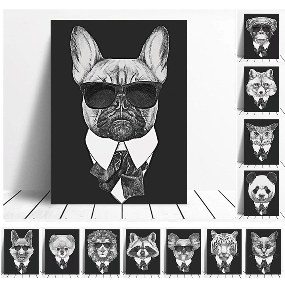 26 Fashion Mafia Hipster Animals Dog Cat Posters Modern Black White Prints Vintage Wall Art Pictures Home Decor Canvas Painting
