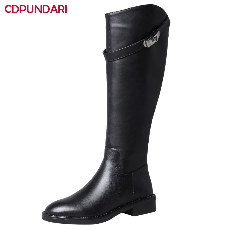 Black White Genuine Leather Low Heels Knee High Boots Women Autumn Winter Long Riding Boots Ladies Popular Shoes Black White