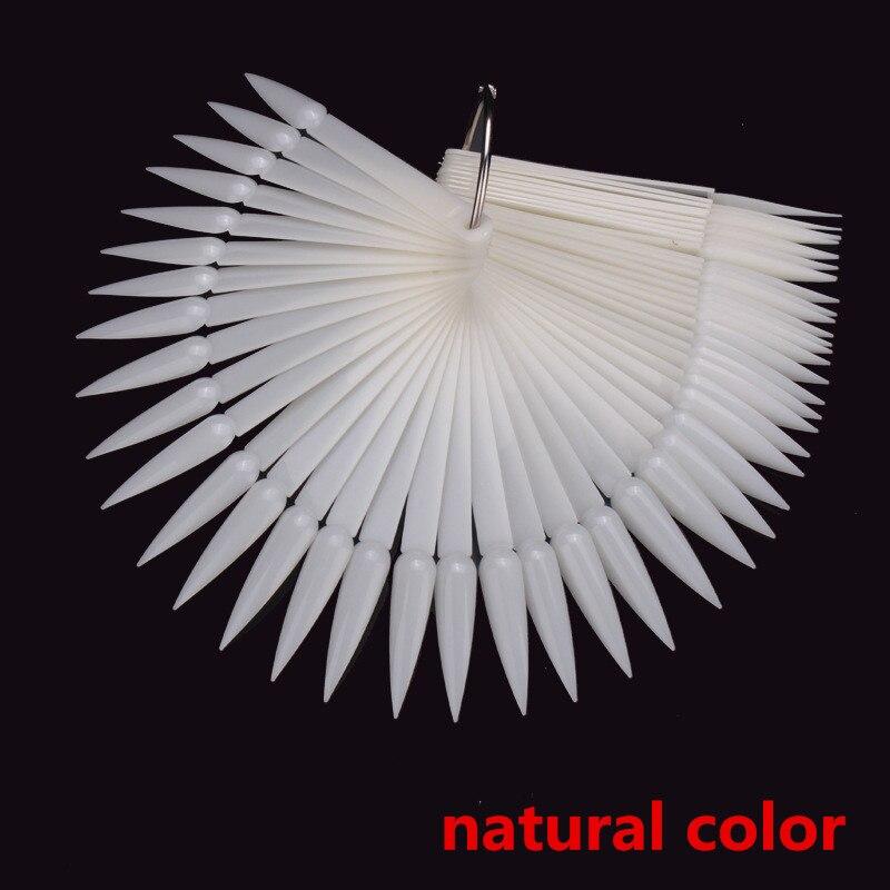 Profesional 50 Uds Color en forma de abanico de uñas muestra palos punta larga-en forma de clara naturaleza negro falso consejos para exhibición de arte de uña salón