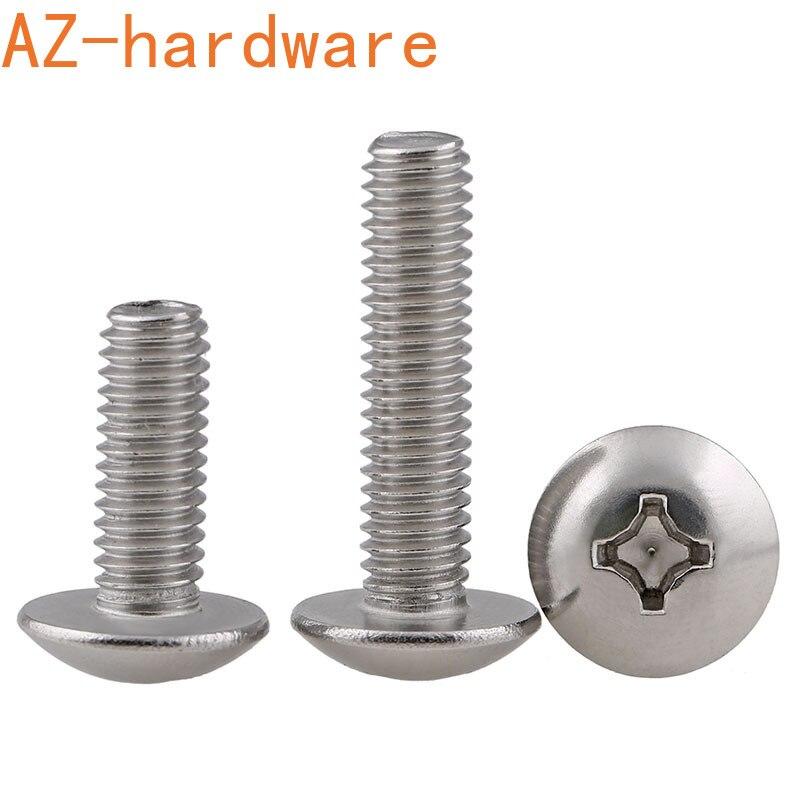 M2-M5 304 stainless steel large flat head machine wire large flat head machine screw TM cross-slot mushroom head screw  50PCS