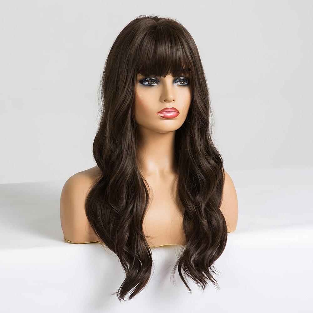 EASIHAIR Long Dark Brown Women's Wigs with Bangs Water Wave Heat Resistant Synthetic Wigs for Black Women African American Hair