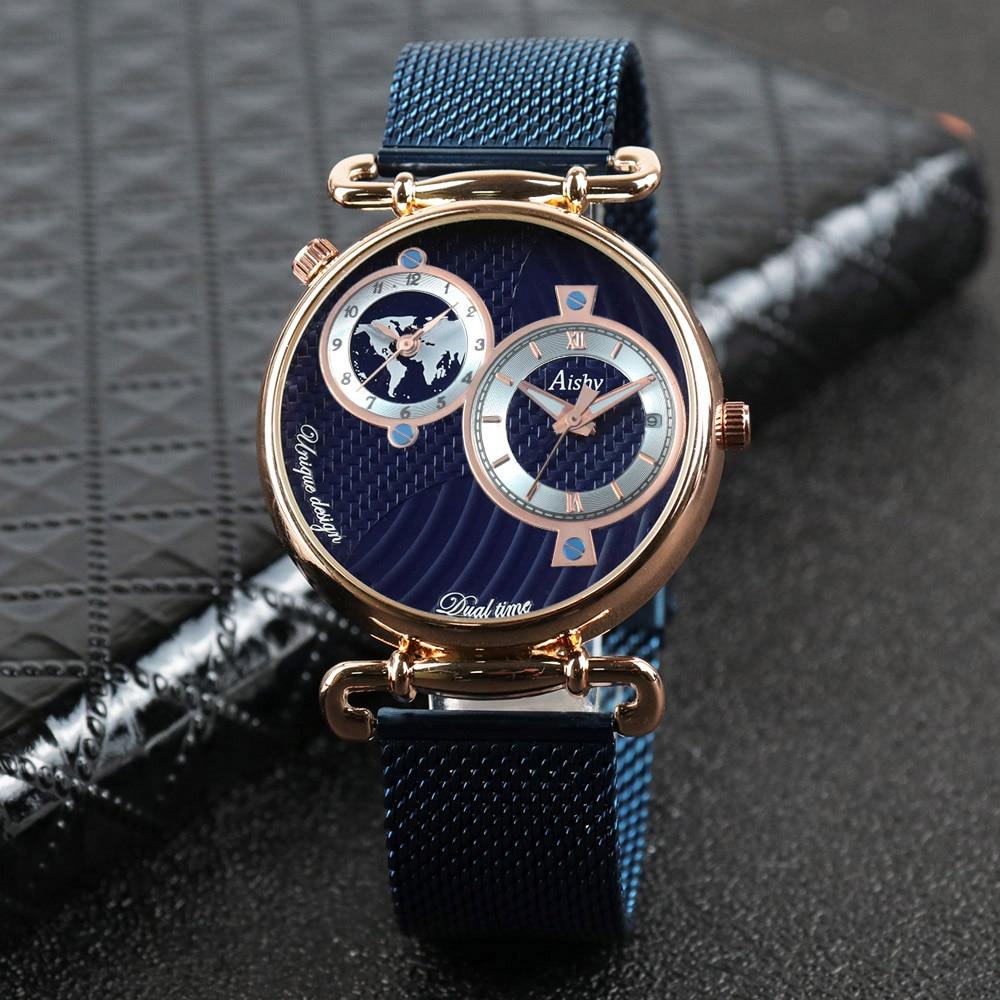 2021 Aishy Fashion Watch Men Top Luxury Brand Men Stainless Steel Business Men Wrist Watch Relogio Masculino Dual time zone