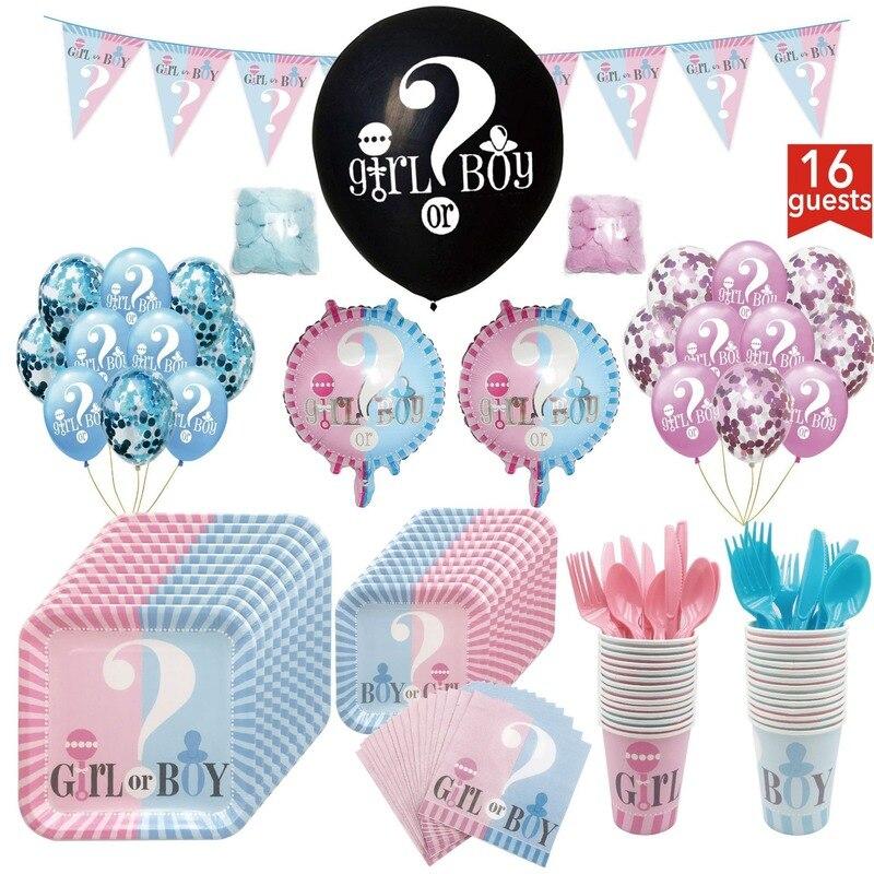 Niña o niño género Reveal desechable vajilla placa Mantel y servilletas Garland globos fiesta de cumpleaños decoraciones