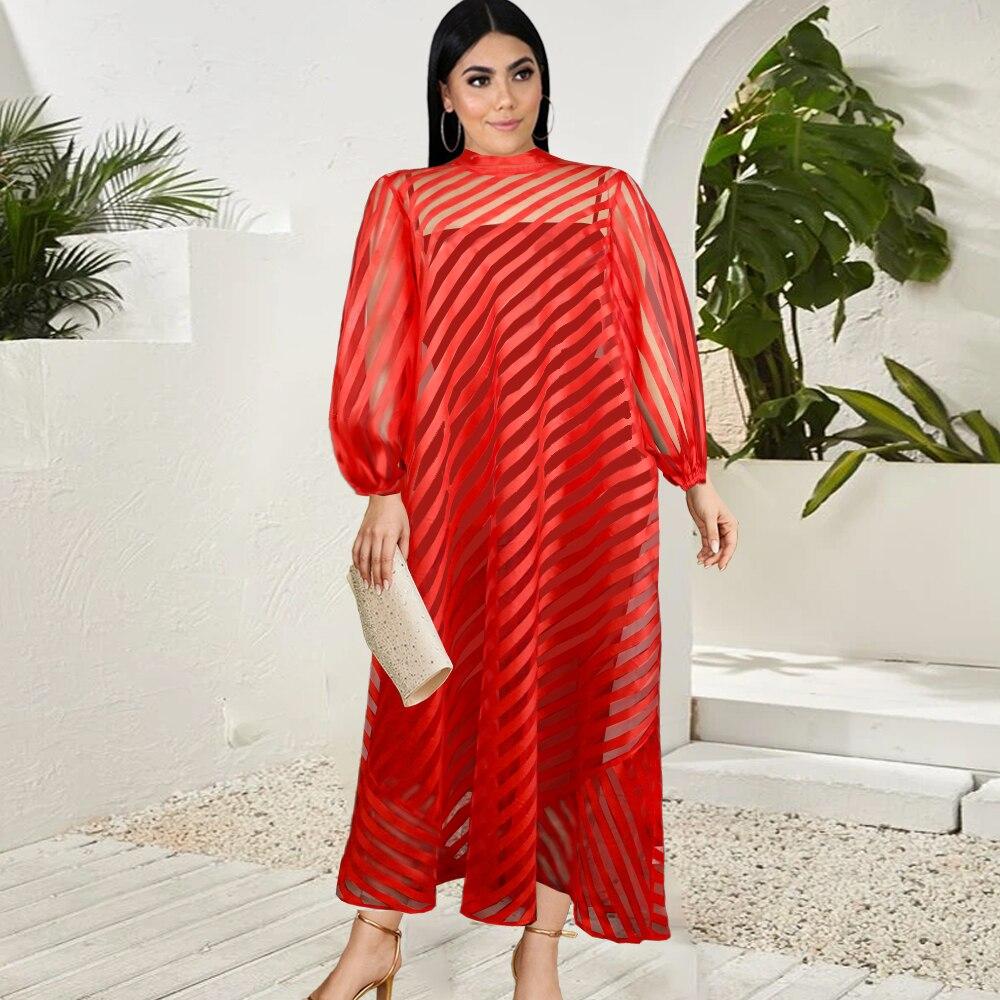 Платья размера плюс, свободные прозрачные Красные Полосатые платья с рукавами-фонариками на молнии, модные повседневные женские наряды, ве...