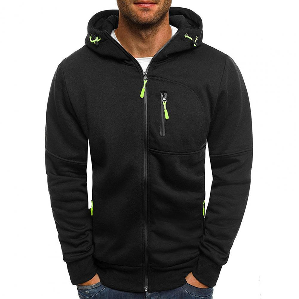 Фото - Hooded Long Sleeve Men Jacket Autumn Winter Zipper Pockets Jacket Sweatshirt Male Clothing Hooded Long Sleeve Men Jacket fuzzy hooded jacket