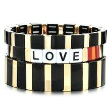 Luxury Balck & Gold Enamel Tile Bracelets Letter LOVE Jewelry Rainbow Bracelet For Women Bangles Bohemian Pulsera Mujer Moda