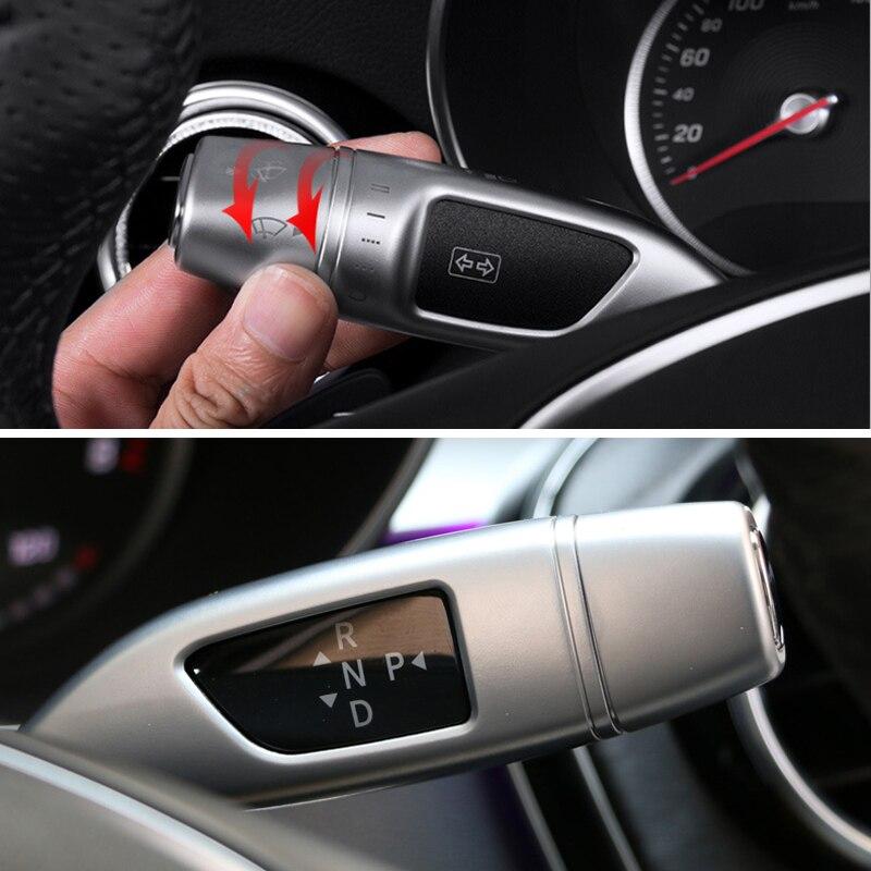 Limpiador de estilo de coche, cubiertas de lentejuelas de palanca de cambios de crucero, pegatinas de marco para Mercedes Benz GLC C/E clase W205 W213, accesorios de coche