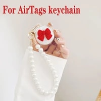 for airtag case luxury keychain cute pearl butterfly clear case for air tags locator tracker anti lost protective cover
