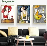 nordic abstract woman canvas painting modern girl poster print retro character wall art picture mall bar restaurant hall decor
