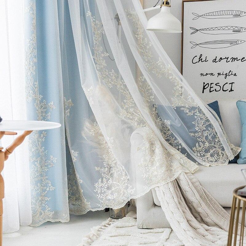 الكورية نمط ستارة شفافة مطرزة نافذة تول لغرفة المعيشة الفتيات غرفة نوم ويندوز العلاج ضوء رمادي وأزرق الستائر