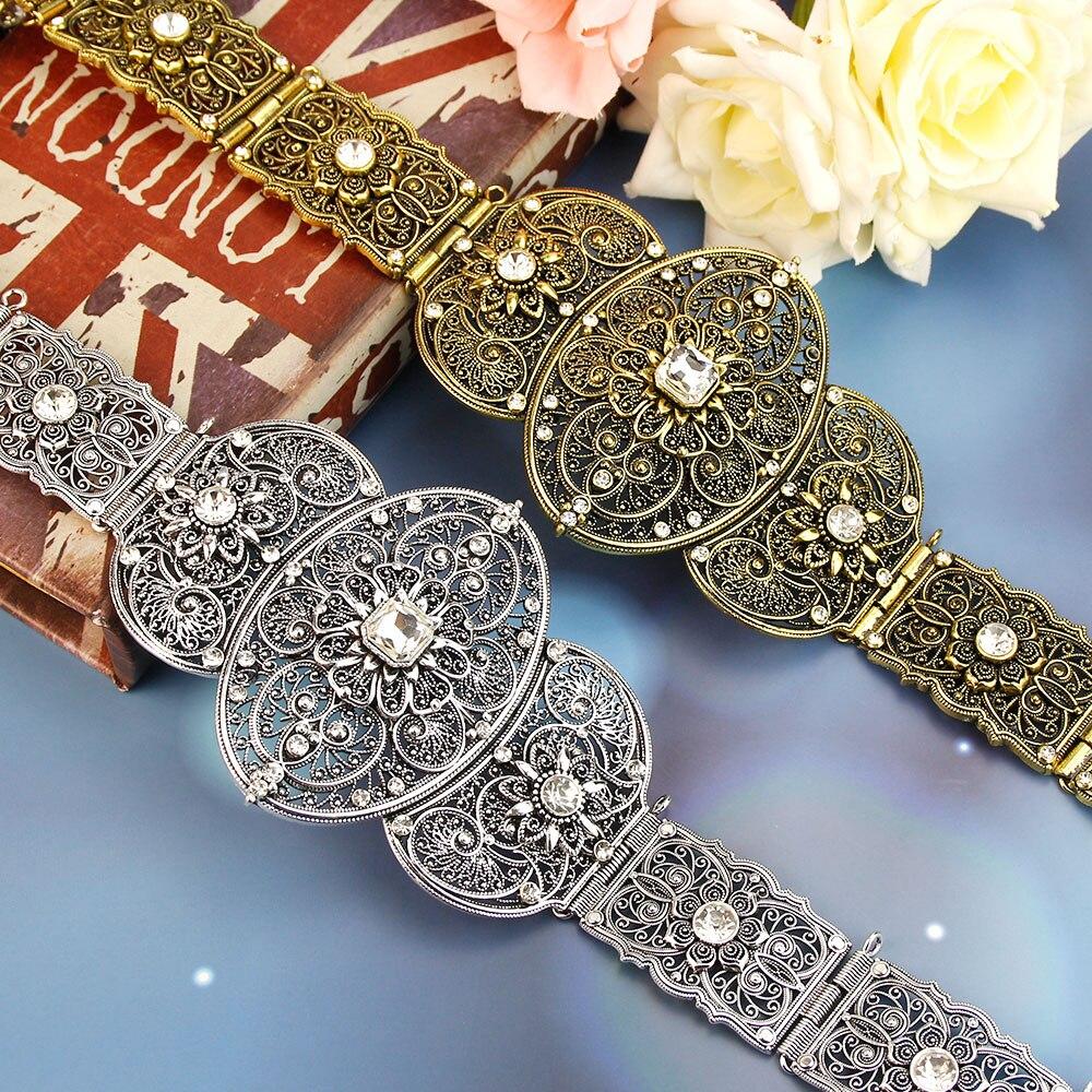 SUNSPICE-MS شيك قفطان حزام للنساء العتيقة الذهب والفضة اللون الزفاف العرقية كريستال الخصر حزام ضبط طول المجوهرات الهند