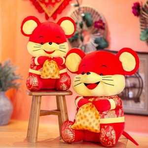 30CM 2020 New Year of the Rat Mascot Stuffed Plush Toy in Tang Suit For Home Work Desk Room Deacoration Toy Kids New Year Gift