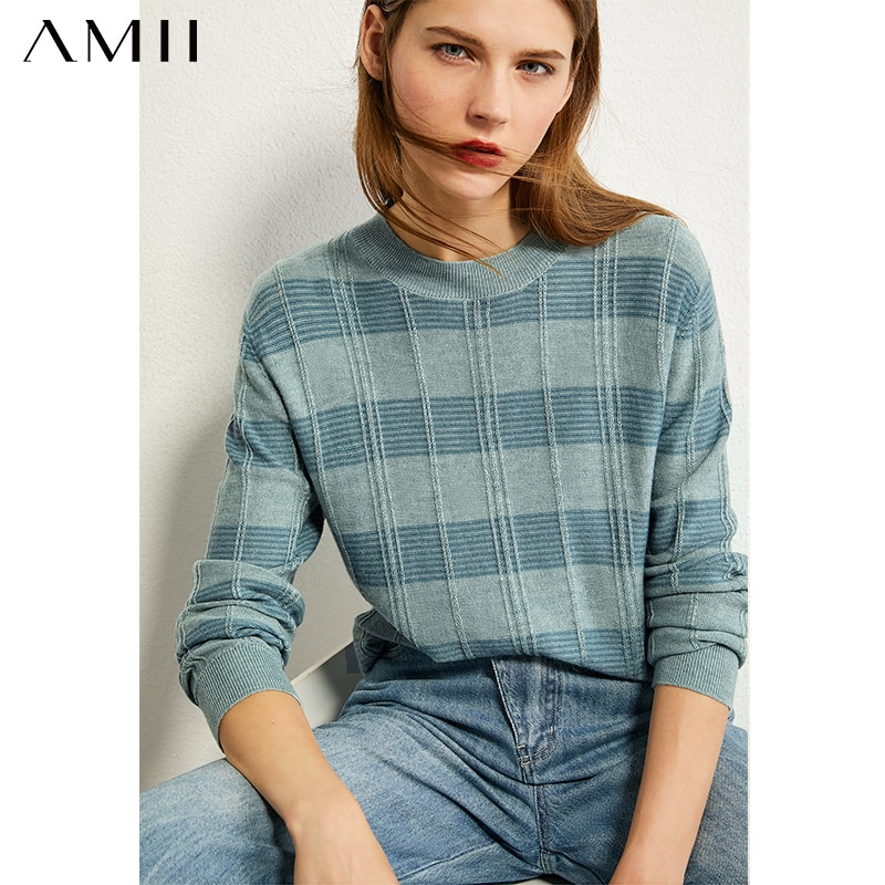 AMII minimalismo otoño Vintage moda mujer suéter a cuadros cuello redondo suelto mujeres pulóver Causal mujer suéter Tops 12020225