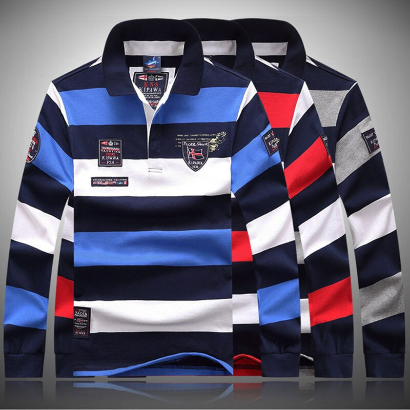 2020 algodón hombres ropa de alta calidad otoño Casual suelta manga larga raya de los hombres de solapa Polo camisas marca Shark de talla grande 3XL