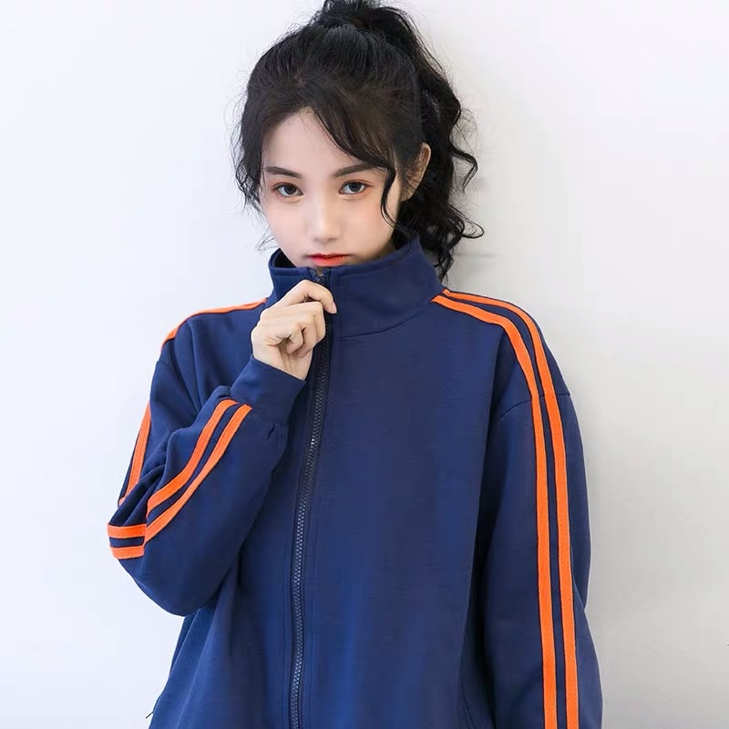 2021 Blue Color Coat Female Spring and Autumn Korean Style Loose-Fitting Jacket Zipper Cardigan Stud