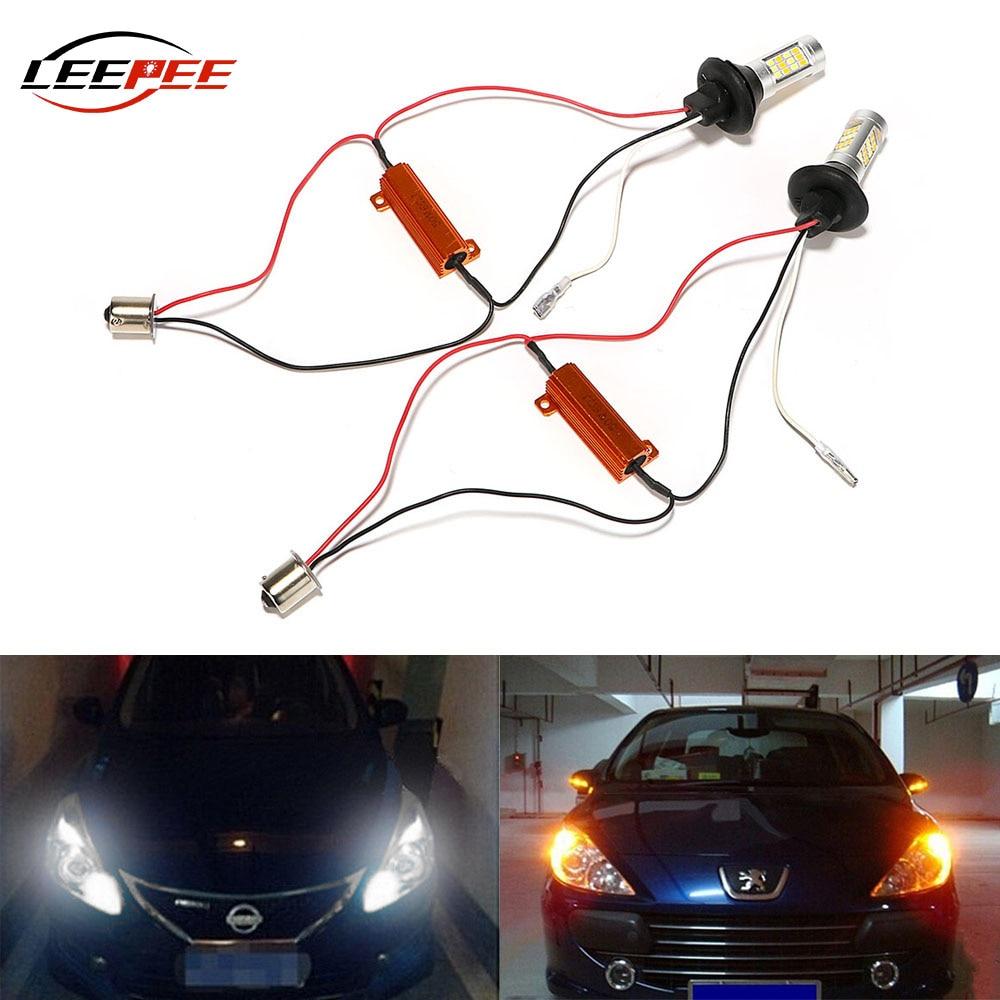 Leepee 42 leds luzes led carro drl transformar a luz do sinal lâmpadas de automóvel universal dc 12v 2pcs luzes diurnas acessórios
