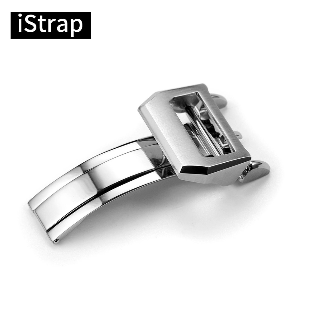 iStrap For IWC Big Pilot Watch Band Top Quality 316L Stainless Steel Butterfly Brushed Folding Buckl