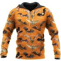 new fashion autumn hoodie beautiful bat 3d printing mens zipper hoodie unisex harajuku casual street sweatshirt