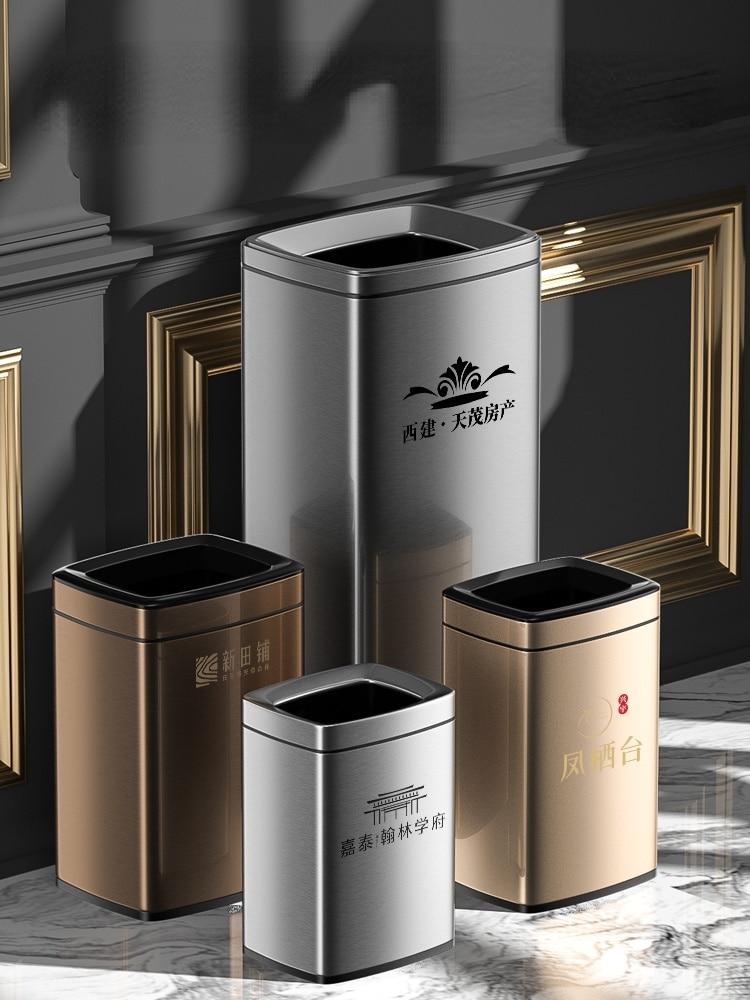 Stainless Steel Luxury Trash Can Large Europe Standing Bedroom Trash Bin Modern Rangement Cuisine Kitchen Storage BD50WB enlarge