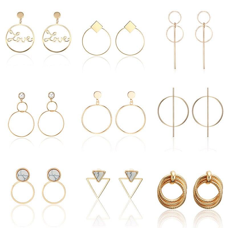 Korean Fashion Gold Sliver Big Hollow Love Heart Dangle Earrings For Women Girl Simple Statement Long Drop Earrings Gift