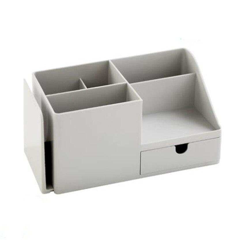 Organizador de escritorio multifunción de plástico ABS, caja de almacenamiento para bolígrafo, papelería de lápiz, soporte de Control remoto cosmético para teléfono móvil